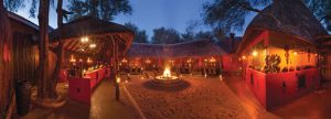 Dining at Kings Camp in the traditional boma